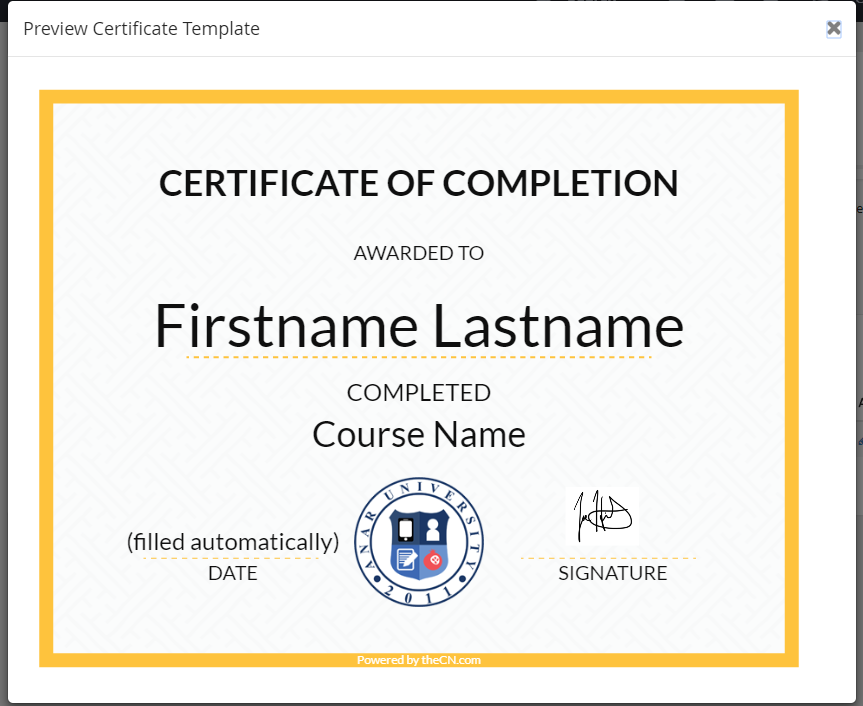 Course Completion Certificate (Admin and Instructor Guide ...