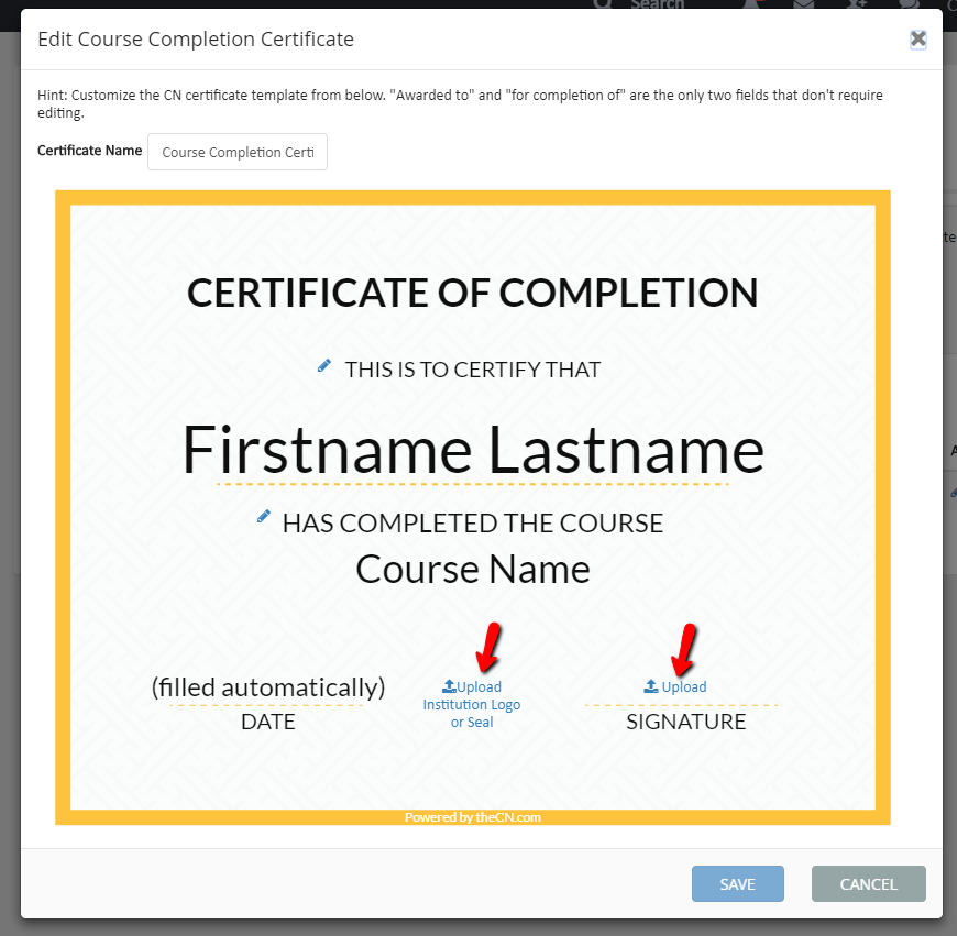 Course completion certificate admin and instructor guide uploadinstitutionlogoandsignatureg here is an example of completed course completion certificate yelopaper